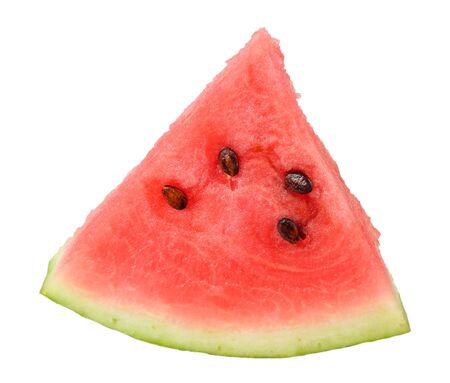 Geschnittene reife Wassermelone lokalisiert auf weißem Hintergrund