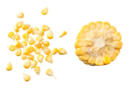 Fresh corn seeds isolated on white background