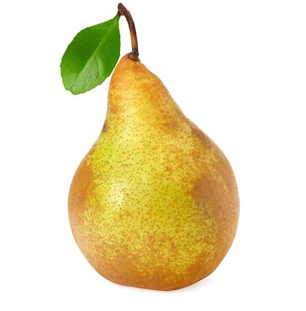 fresh single pear with leaf isolated on white background