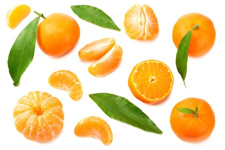 mandarin with slices and green leaves isolated on white background top view