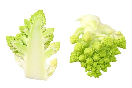 sliced romanesco broccoli isolated on white background. Roman cauliflower. top view