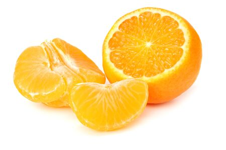 mandarin with slices isolated on white background Archivio Fotografico