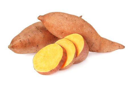 Sweet potatoes with slices isolated on a white background