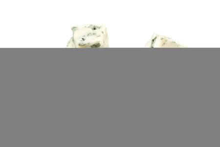 cut of blue cheese isolated on white background. macro
