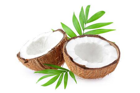 Coconut with green leaves isolated on white background. top view Archivio Fotografico
