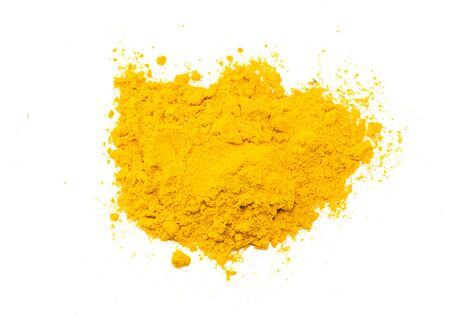 Turmeric powder isolated on white background. Top view.