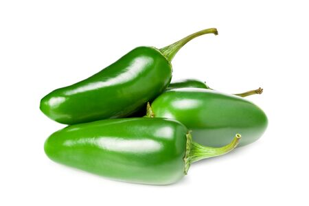 jalapeno peppers isolated on white background. Green chili pepper. Capsicum annuum