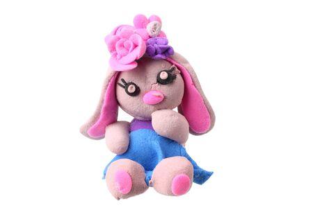 plasticine rabbit isolated on white background. modelling clay