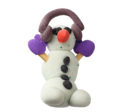 plasticine snowman isolated on white background. modelling clay Foto de archivo