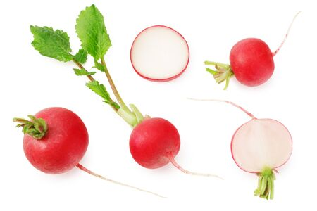fresh radish with slices isolated on white background. top view
