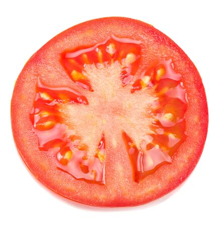 fresh tomato slices isolated on white background. close up. top view