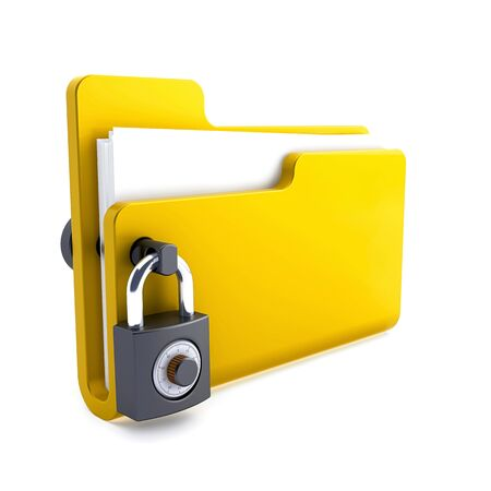 yellow folder with the lock isolated on white background. Data security concept. 3d render.