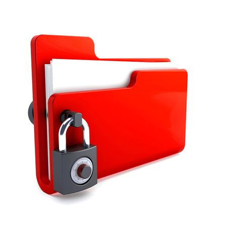 red folder with the lock isolated on white background. Data security concept. 3d render. Standard-Bild