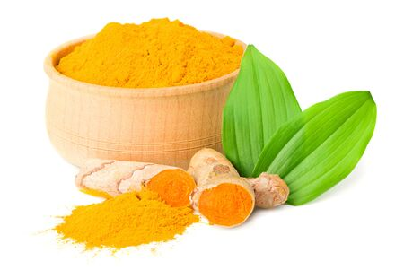 Turmeric powder with turmeric root isolated on white background