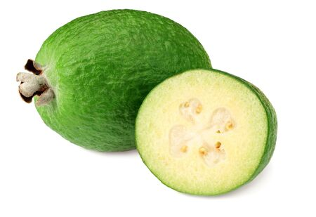 Tropical fruit feijoa with slices isolated on white background. Acca sellowiana
