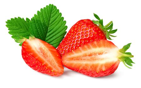 Sliced strawberry with green leaf isolated on white background.