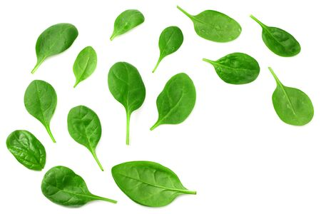Mix of different salads isolated on white background. top view
