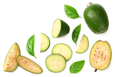 Tropical fruit feijoa with slices isolated on white background. Acca sellowiana. top view