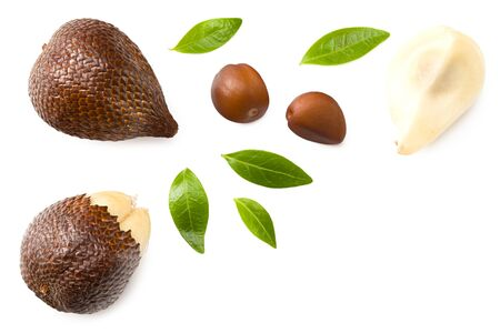 Salak or snake fruit isolated on white background. top view Archivio Fotografico