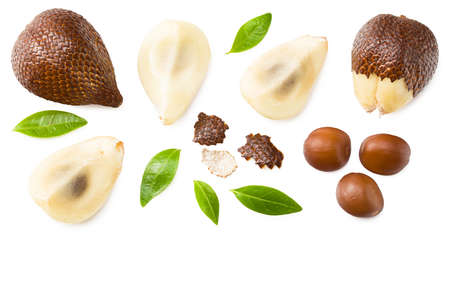 Salak or snake fruit isolated on white background. top view