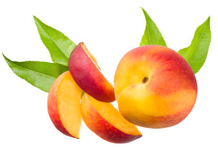 peach fruit with green leaf and slice isolated on white background Standard-Bild - 151529442