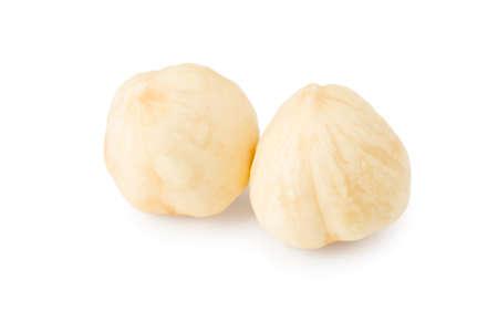 hazelnuts isolated on white background macro