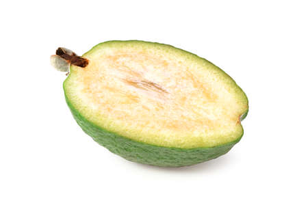 single peach fruit isolated on white background