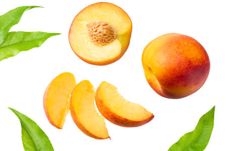 peach fruits with green leaf and slices isolated on white background. top view Banque d'images