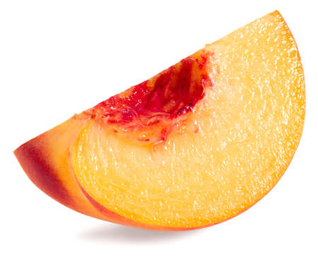 single peach fruit isolated on white background