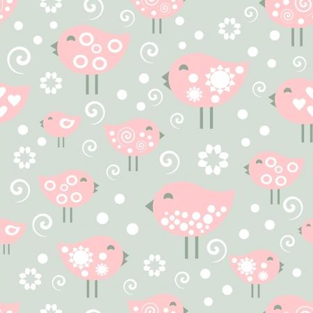 vector pattern, happy birds Stock Vector - 14652663