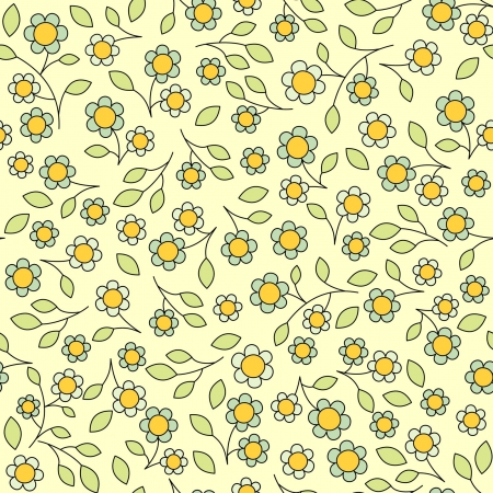 vector seamless pattern, leaves and flowers Vector