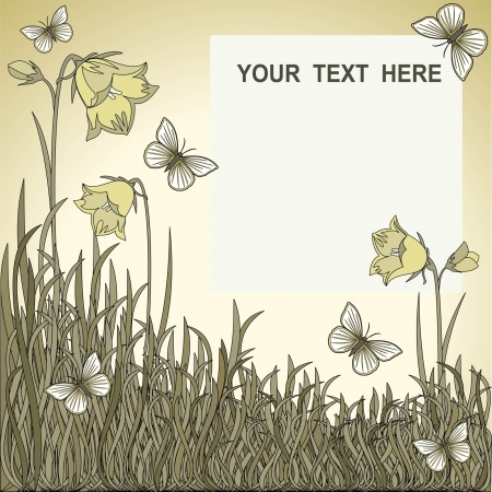 vector background, monochrome flowers and grass Vector