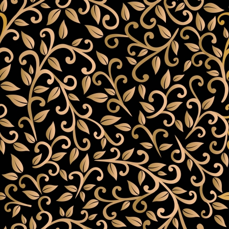 baroque background: vector seamless pattern: golden leaves