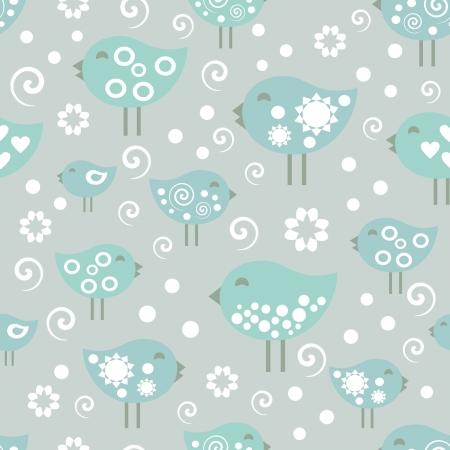 vector pattern, happy birds  Ilustração