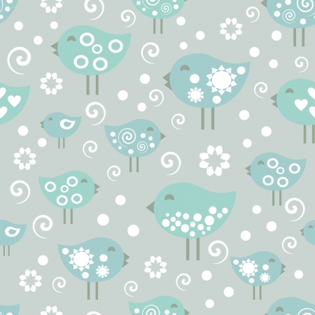 vector pattern, happy birds  Vector