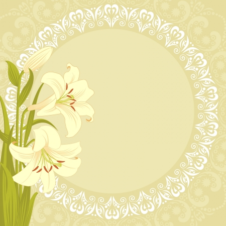 vector background with lilies  Illustration