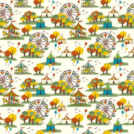 Funfair. Autumn. Vector seamless pattern. Иллюстрация