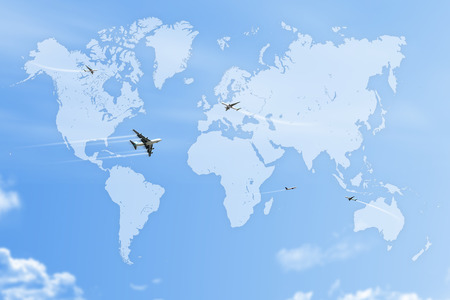 map on blue sky with plane Stock Photo