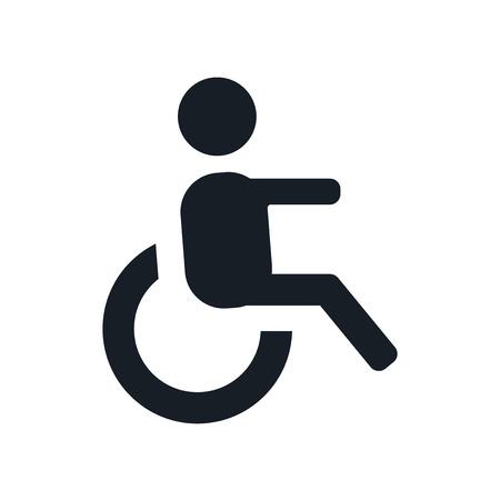 Wheelchair side view icon vector isolated on white background for your web and mobile app design, Wheelchair side view logo concept