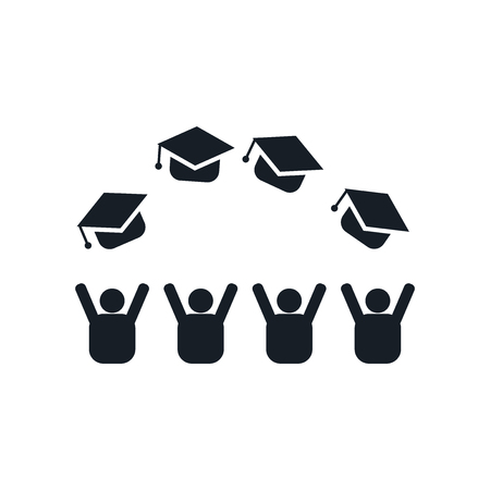 Graduate cap icon vector isolated on white background for your web and mobile app design, Graduate cap logo concept Ilustração