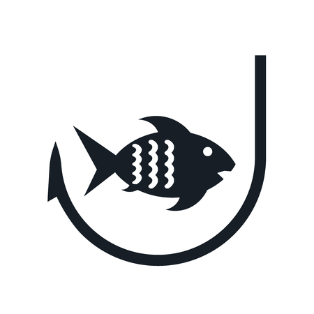 Fishing icon vector isolated on white background for your web and mobile app design, Fishing logo concept Illusztráció