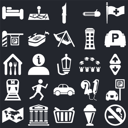 Set Of 25 icons such as No Smoking, Ice Cream, Shopping basket, Monument, World map, Parking, Graduate cap, Car, Metro, Strong knife, Map on black background, web UI editable icon pack