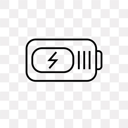 Battery power vector icon isolated on transparent background, Battery power logo concept
