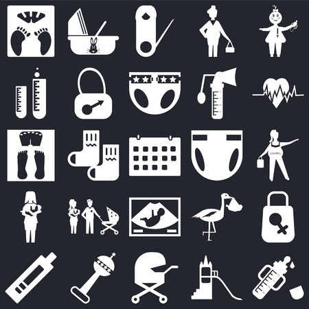 Set Of 25 simple editable icons such as Feeder, Pregnancy, Heart beat, Cradle, Pregnancy test, Bag, Stork, Scale on black background, web UI icon pack