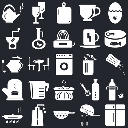 Set Of 25 icons such as Cabinet, Mixer, Strainer, Soap dispenser, Pan, Conserve, Trash, Molded, Mitten, Coffee grinder, Kitchen board, Glass on black background, web UI editable icon pack Vector Illustratie