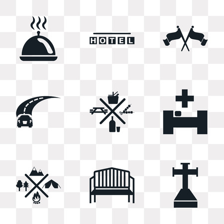 Set Of 9 simple transparency icons such as Cross stuck in ground, Bench, Camping, Hospital, Picnic, Road, Flag, Square hotel, Tray with cover, can be used for mobile, pixel perfect vector icon pack Ilustração