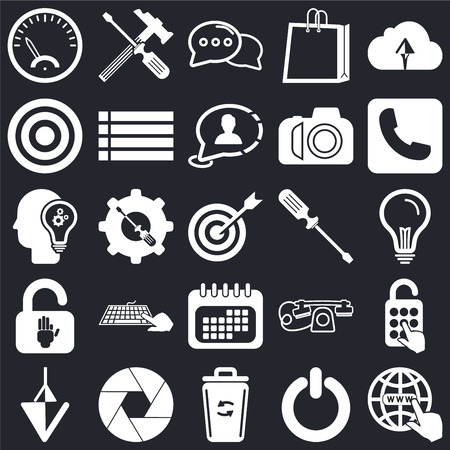 Set Of 25 icons such as Internet, Power, Garbage, Shutter, Down arrow, Telephone, Screwdriver, Calendar, Padlock, Target, Speech bubble, Settings on black background, web UI editable icon pack