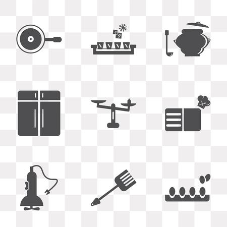 Set von 9 einfachen Transparenz-Symbolen wie Eier, Spatel, Mixer, Rezept, Gewicht, Schrank, Topf, Eiswürfelschale, Abendessen, kann für mobile, pixelgenaue Vektor-Icon-Pack auf transparent verwendet werden