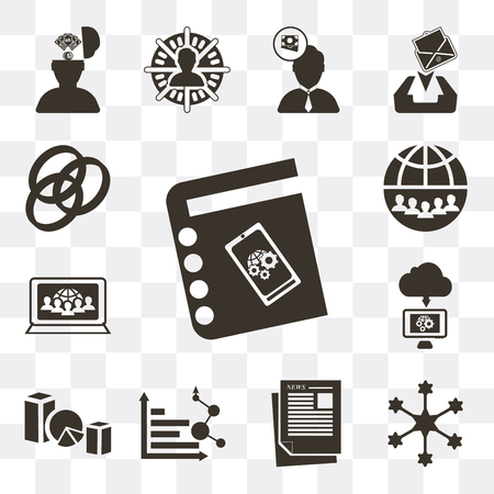 Set Of 13 simple editable icons such as Agenda, Diagram, Newspaper, Analytics, Line graph, Cloud computing, Computer, Internet, Rgb on transparent background Çizim