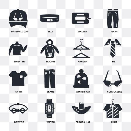 Set Of 16 icons such as Shirt, Fedora hat, Watch, Bow tie, Sunglasses, Baseball cap, Sweater, Hanger on transparent background, pixel perfect Illustration